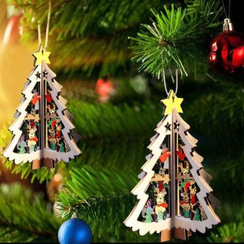 3D Wooden Christmas Pendant Hanging Ornaments