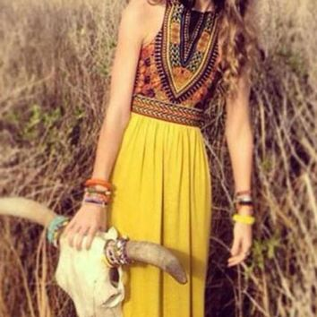 Sunset Tribal Maxi Dress