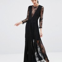 True Decadence Petite Lace Pleated Maxi Dress at asos.com