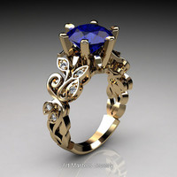 Nature Inspired 14K Yellow Gold 3.0 Ct Blue Sapphire Diamond Leaf and Vine Crown Solitaire Ring RD101-14KYGDBS