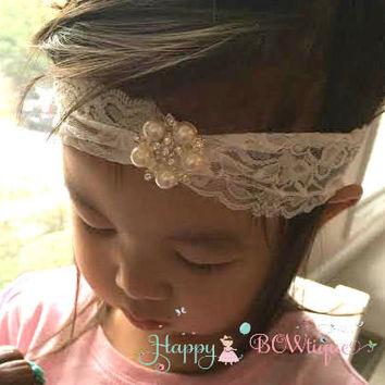 Girls Wide Lace Pearl Rhinestone Headband