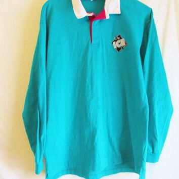 Vintage 1990's Long Sleeve Miller Lite Ice Rugby Polo Shirt