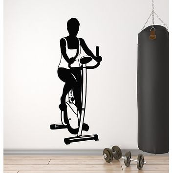 Vinyl Wall Decal  Exercise Bike Sports Women Healthy Lifestyle Gym Stickers Mural (g205)