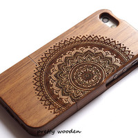 Real iPhone 6 Case,Wood Phone 6 Cover,wood phone 6 plus case cover  Suitable for iPhone 5/5s/5c/4s Case Engraved Mandala case .Gift