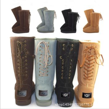 """UGG"" Women Fashion Wool Snow Boots lace up boots (4-color)"