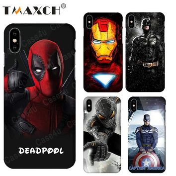Superhero Deadpool Ironman Phone Case for iPhone X 8 7 Plus 6s iPhone 8 capinhas Hard Slim PC Case Superman Captain Amercan