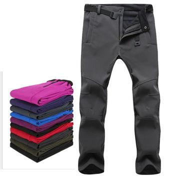 Outdoor camping & hiking pants Fleece windproof skiing snowboard