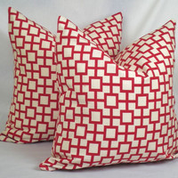 Pillow Cover . Cats Cradle in Lacquer Red . 18 x 18 or 20 x 20