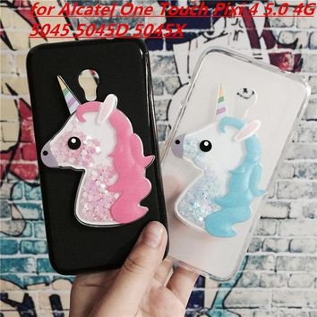 3D Unicorn Quicksand Liquid Soft Silicone Case for Alcatel One Touch Pixi 4 5.0 4G 5045 5045D 5045X Phone Cover Funda Para