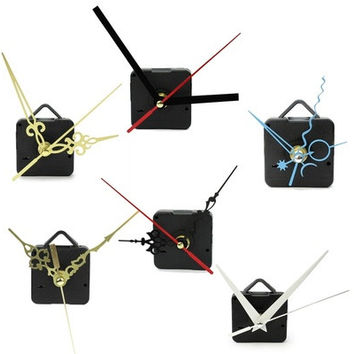 New Black Quartz Clock Movement Mechanism Repair DIY Tool Kit + White Hands [8833612620]