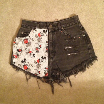 Gray Highwaisted Mickey Mouse Shorts