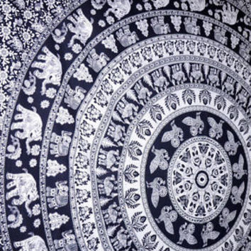 Indian tapestry Black Elephant Tapestry indian boho bedding mandala Hippy boho