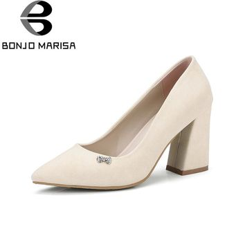 BONJOMARISA Women's Square High Heel Party Wedding Office Shoes Woman 2018 Pointed Toe Less Platform Pumps Big Size 32-42