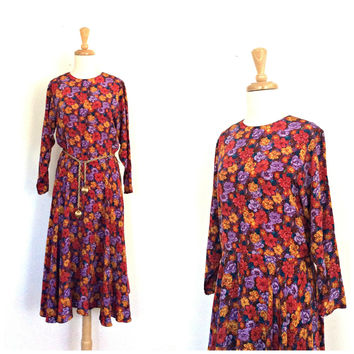 Vintage Boho Dress - 80s dress -midi - floral dress - Neiman Marcus - work dress - M L