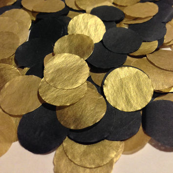 Metallic Gold confetti/new years eve party/wedding/birthday party/first birthday/anniversary/tissue paper decoration/tissue paper/Black/Gold