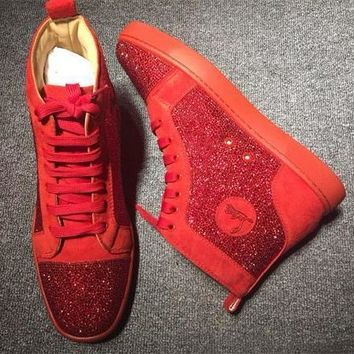 Cl Christian Louboutin Rhinestone Style #2105 Sneakers Fashion Shoes