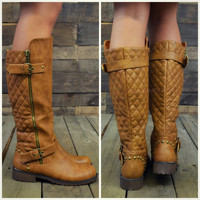 Roaslie Quilted Tan Leather Riding Boots