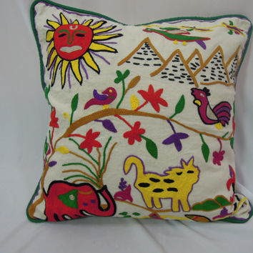 Baby Embroidered Indian Pillow - Suzani Bright Colored Cushion Cover 16x16 - New Home Gift