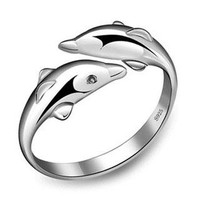 Cute Sweet Silver Dolphin Wrap-Around  Ring from shopgirl8