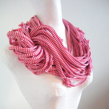 Red White Candy Stripes Infinity Scarf Chunky Cowl Scarf Steampunk Upcycled Clothing Spring Fashion Circle Loop Scarf Spring Fashion
