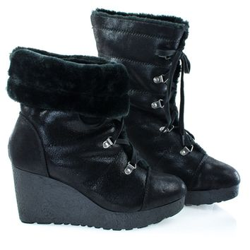 Crepe07 Black By Bamboo, Women Military Lace Up Faux Fur Lining Winter Snow Boots, Wedge Lug Sole