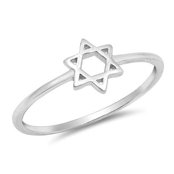 Sterling Silver Women's Ring Star of David 7MM