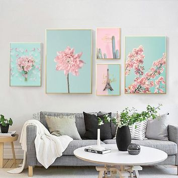 Peach Cherry Blossom Flower Nordic Poster Cuadros Decoracion Wall Pictures For Living Room Wall Art Canvas Painting Unframed