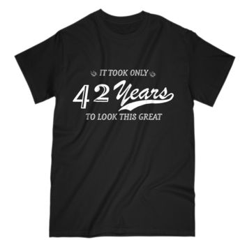 42nd Birthday Gift Mens T Shirt Funny Design For Husband Grandpa Uncle Dad