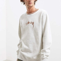 Stussy Contrast Collar Embroidered Crew Neck Sweatshirt | Urban Outfitters