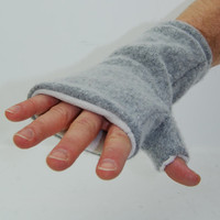 Men's Fingerless Mitts in Cloud Grey - Recycled Wool - Fleece Lined