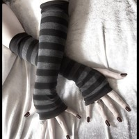 Dusk And Her Embrace Arm Warmers - Dark Charcoal Grey & Black Stripes - Bellydance Chic Classic Bohemian Yoga Cycling Emo Vampire Light