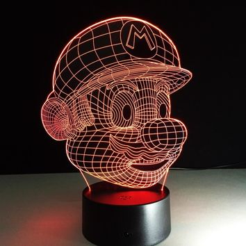 Super Mario party nes switch  Cartoon Lampara LED 3D Night Light Acrylic 3D Lamp Touch Luminaria USB Table Mood Lamp Baby Night Light  Ship AT_80_8