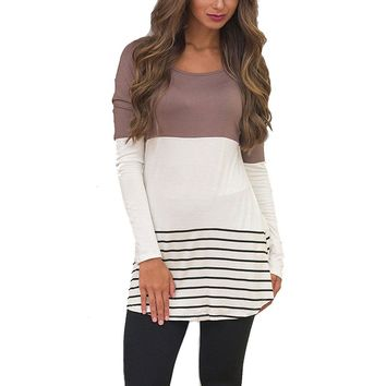 Ladies Casual Coffee Long Sleeve Loose Fitted Blouse