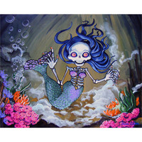 Day of the Dead art PRINT Calavera Mermaid Sirena Skeleton from painting tattoo
