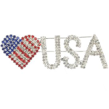 Clear Color Rhinestone Heart Usa Pin And Brooch