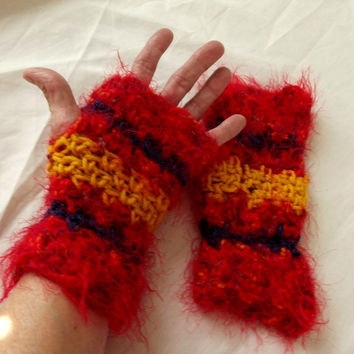 Crochet Fingerless Gloves, Texting Wrist Warmers, Red Furry, Blue, Gold, Funky, Boho
