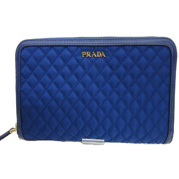 Prada 1M0506 Wallet in Stitched Quilted Pattern Blue Leather