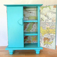 Wood Cabinet Handpainted Turquoise Blue Beach Shelves, Nautical Cupboard