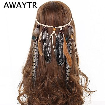 Indian Feather Headband AWAYTR Hair Accessories 2018 Festival Women Hippie Adjustable Headdress Boho Peacock Feather Hair Band