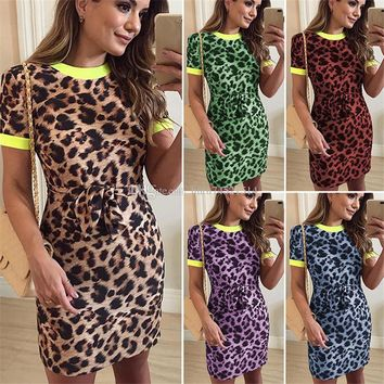 2019 New Arrival Women Short Sleeve Dress Sexy Leopard Print O Neck Bandage Summer Dress Female Party Club Bodycon Mini Dress