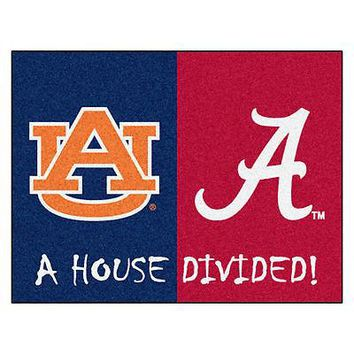 Alabama Crimson Tide vs Auburn Tigers House Divided Mat
