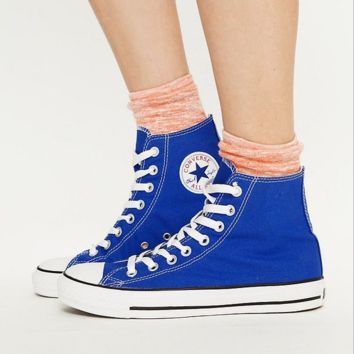 """Converse"" Fashion High tops Wine red Canvas Flats Sneakers Sport Shoes Sapphire blue"