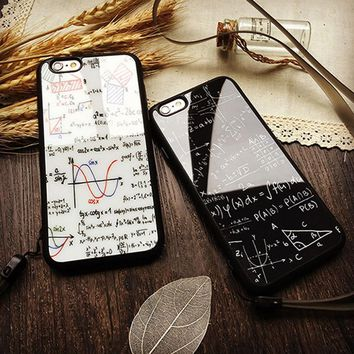 Math Figure Funda Lover Couples Protective Shell For iphone 6 6s Formula Cover Equation Graph Soft TPU Acrylic Mirror Phone Case