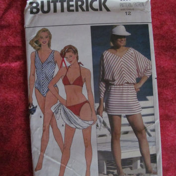 Spring Fever Sale UnCut 1970's Butterick Sewing Pattern, 6555! Size 12, Women's, Misses, Swimsuits, Swimsuit Covers, Bikini's