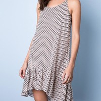 Printed Slip Dress - Tan