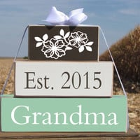 "Pregnancy announcement: Gift for new Grandma Nana Grandpa Wood Stacking Gift Blocks. ""Est. 2015 Grandma"" - Christmas gift. Grandparents Day"