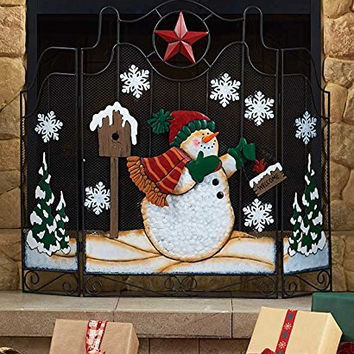 Snowman Freestanding Texas Star Holiday Metal Fireplace Screen