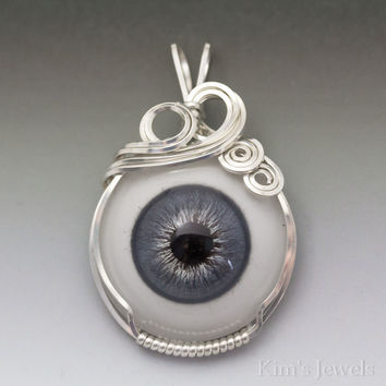 Slate Blue Glass Eye Eyeball Sterling Silver Wire Wrapped Pendant