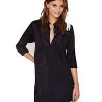 V-neck Long Sleeve Mini Shift Dress
