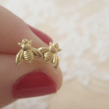 Tiny Bee Stud Earrings by ClementinesJewelry on Etsy